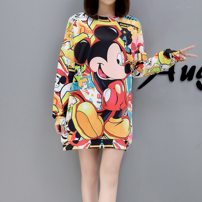 Disney Mickey Mouse Spring  Autumn Cute Cartoon Printed Large Size Mid-length Coat Fashion Women's Hedging  Sweatshirt Women