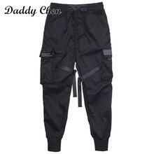 Мужские Модные Цветные черные брюки-карго с лентами и карманами, Харадзюку, спортивные штаны в стиле хип-хоп, новинка, горячая Распродажа