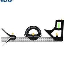 Shahe החדש 300 mm Stanless פלדת זווית שליט שילוב כיכר זווית שליט מדידת כלים זווית מד
