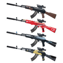 Pistola infantil Manual AK 47 para niños, juguete de francotirador de asalto en vivo, pistola de aire de Airsoft, arma al aire libre de un solo tiro, pistola de balas de agua suave