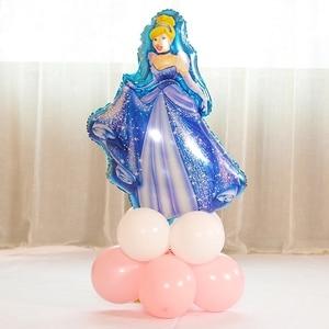Image 3 - 12 adet 93*55cm kar beyaz Elsa beş prenses doğum günü rakamlar folyo balonlar şişme doğum günü partisi dekorasyon helyum balonları