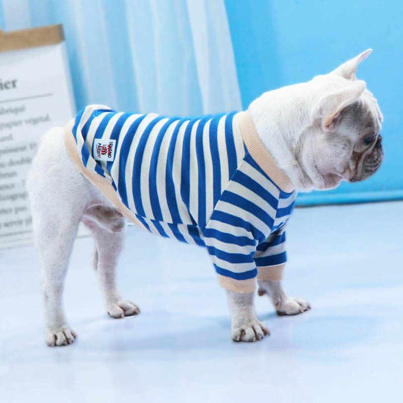 Baumwolle Streifen Hund Pullover Two-legged Hunde Winter Kleidung Warm Halten Französisch Bulldog Frauen Hund Kleidung für Chihuahua Pet Zeug