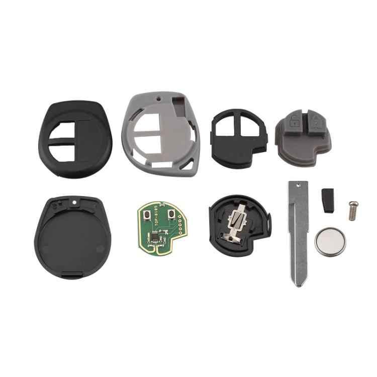 2 botones 433MHz Llavero remoto ABS Llavero con chip ID46 apto para SWIFT SX4 Alto 2007-2013 Llave remota del coche Negro