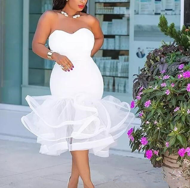 Sereia Vestidos de Baile Tea Comprimento Querida Ruffles Plus Size Vestido De Noite de Volta Zipper Organza Africano Mulheres Vestido De Noiva De Hóspedes - 3