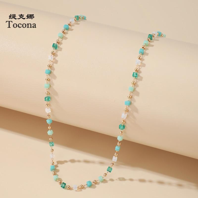 Tocona Bohemian Colorful Bead Chain Choker Necklace for Women Charm Handmade Party Jewelry Drop Shipping naszyjnik 14026