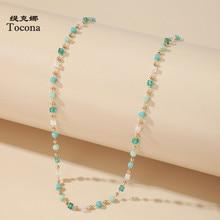 Tocona – collier ras du cou en chaîne de perles colorées pour femmes, breloque fait à la main, bijoux de fête, livraison directe, collection 14026