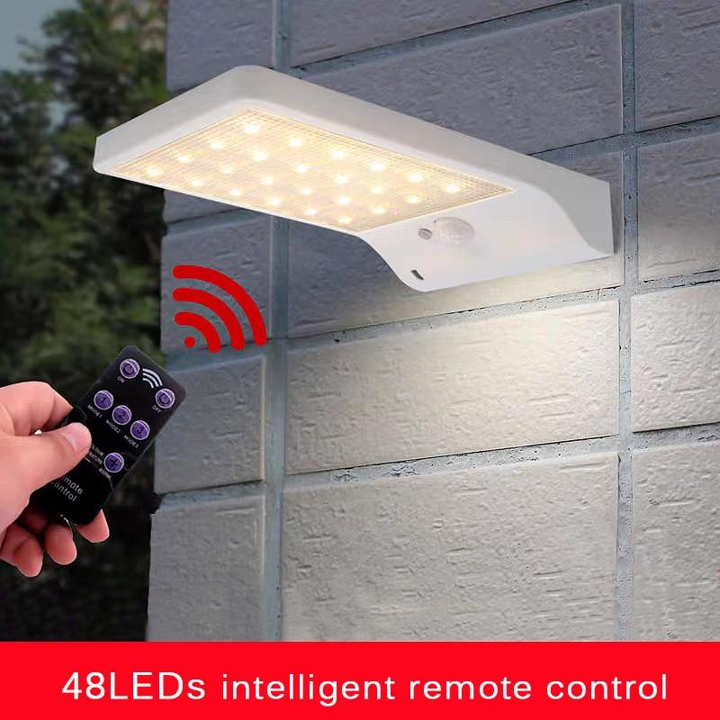 48LED Solar Licht PIR Motion Sensor Solar Lampen Mit Fernbedienung Für Garten Außen Beleuchtung Wasserdicht Mit Pol