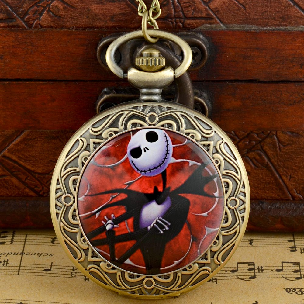 New Vintage Bronze The Nightmare Before Christmas Quartz Pocket Watch Classic Men Women Pendant Necklace Gift Clock