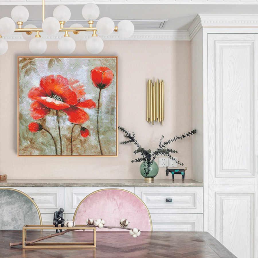 Kruissteek kits Borduren handwerken sets 11CT water oplosbare canvas patronen 14CT Bloemen stijl Rode flower-NCMF217