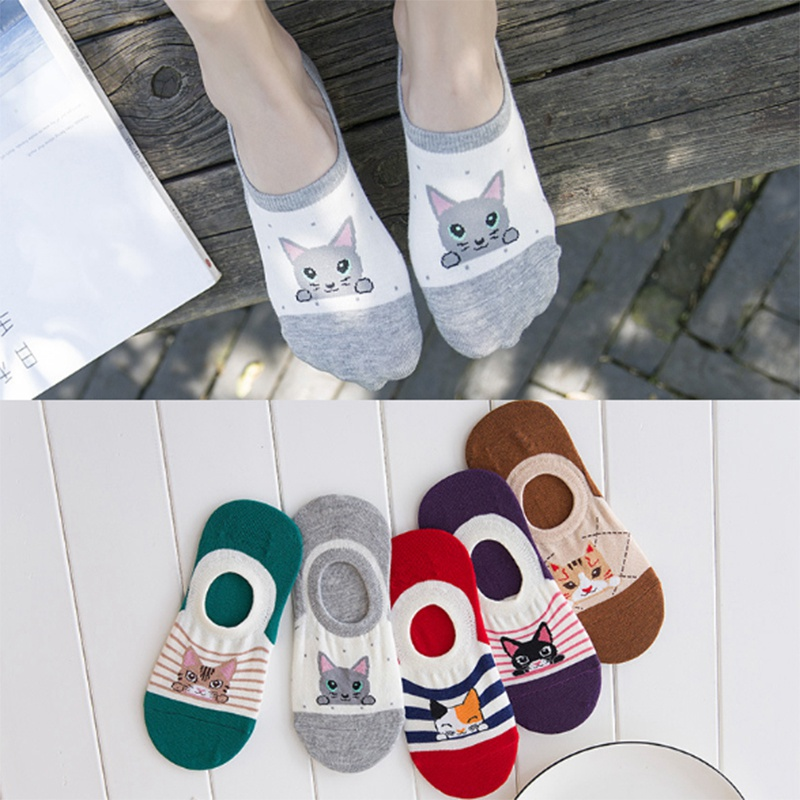 1 Pair Lovely Cartoon Cat Design Women Antiskid Sock Slippers Cute Invisible Socks Cotton Non-Slip Boat Socks Grils  PD0138
