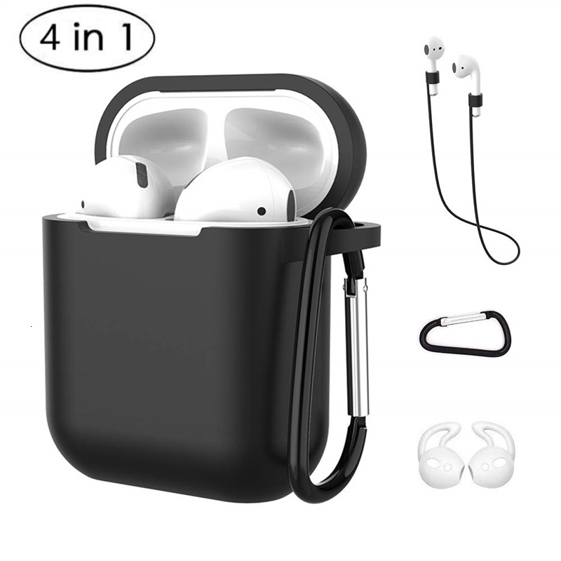 4 In 1 <font><b>Earphone</b></font> Silicone Case Anti-lost Wire Eartips for Apple Airpods Air Pods 1 2 <font><b>Bluetooth</b></font> Wireless Headphone Accessories image