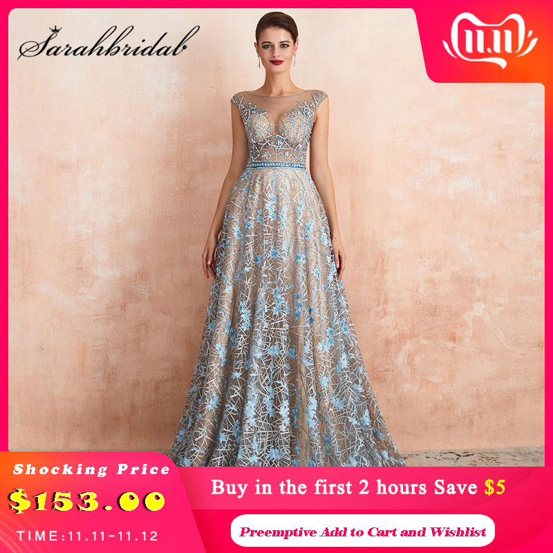Romantic Blue Evening Dress 2019 Long Formal Dresses O-neck Illusion Beaded Embroidery Major Handmade Prom Party Gown SQS67360