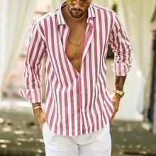 рубашка камиза masculina мужчины рубашка мужчины хомбре хомбре сорочка Homme 2019 полосатый slim fit с длинным рукавом кнопка повседневный  Z4 в аренду