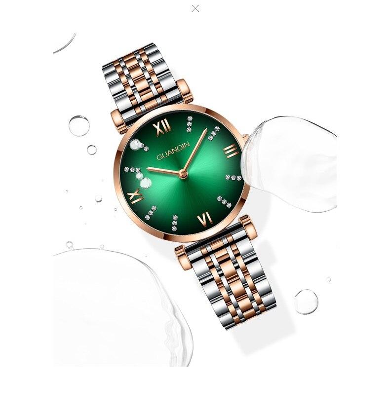 Woman Watch 2019 GUANQIN GS19122 Quartz Luxury Brand Ladies Watch Green Waterproof Simple Fashion Wrist Watch Tool Dropshipping (12)