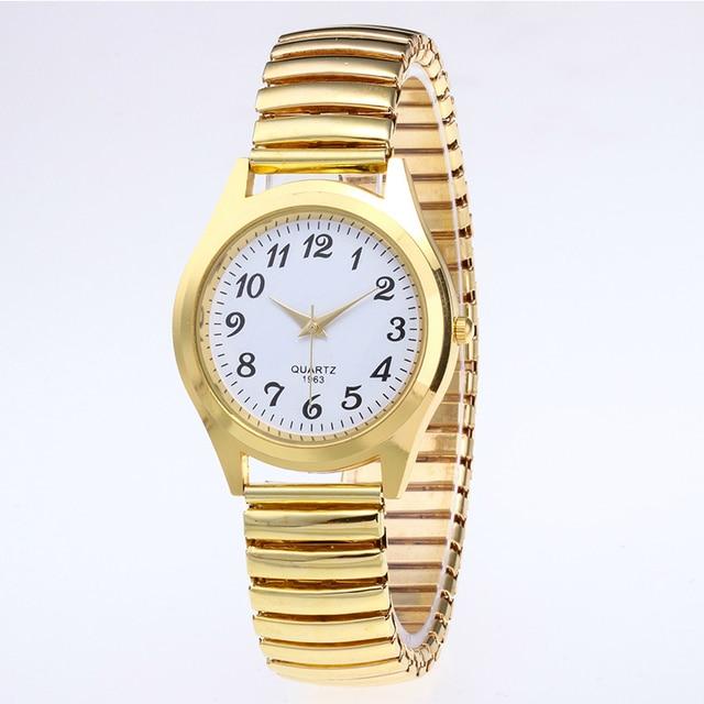 1PCs Fashion Vintage Business Women Men Elastic Gold Sliver Quartz Watch Tide Lovers Couple Party Office Gifts Bracelet Watches 4