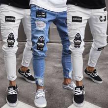 Pantalones vaqueros elásticos rasgados para hombres, con bordado de motorista, estrechos, con agujeros, estilo slim fit, de alta calidad, 3 estilos