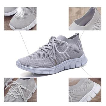 Women Casual Shoes Air Mesh Shoes Solid Shallow Sneakers Slip On Platfrom Shoes Lace up Stretch Fabric Shoes WJ010