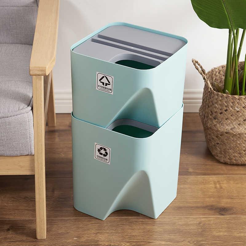 Kitchen Trash Can Recycle Bin Stacked Sorting Trash Bin Household Dry Wet  Separation Waste Bin Rubbish Bin for Bathroom WY11000