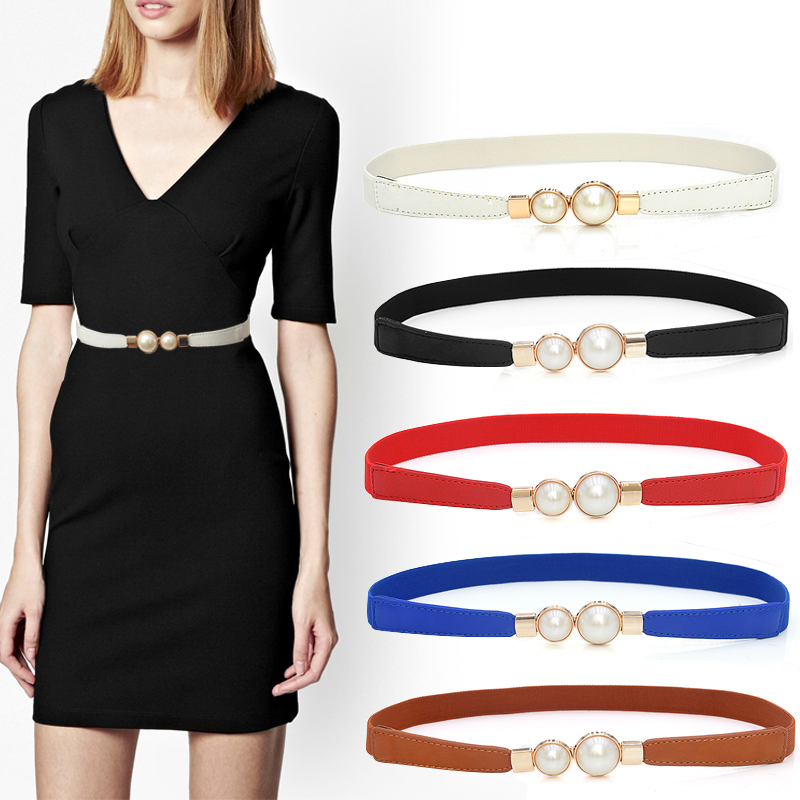Fashion Elastic Belt Waist Easy Belts For Women Black Red Stretch Ceinture Femme Pearl Leather Corset Waistband Dress Cummerbund
