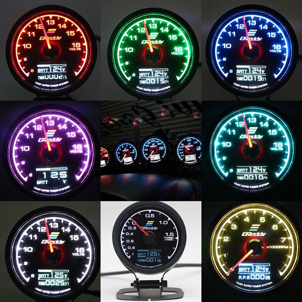 62 мм с наружной резьбой GReddi мульти D/контрольно-измерительного прибора 7 цветов Автомобильный цифровой Дисплей Turbo Boost датчик температуры во...