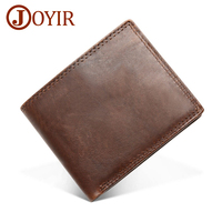 JOYIR Genuine Crazy Horse Leather Men Wallets Vintage Short Wallet Coin Pocket Purse Cowhide Leather Rfid Wallet For Men