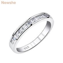 Newshe 925 Sterling Silver wieżowych obrączka dla kobiet AAA sześcienne cyrkonie Eternity Rings