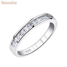 Newshe 925 ayar gümüş istiflenebilir düğün Band kadınlar AAA kübik zirkonya sonsuzluk yüzük