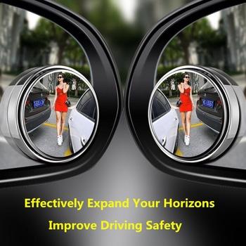 2 sztuk naklejka na samochodowe lusterko wsteczne małe okrągłe lustro strefa niewidomych wspomagane lustro lusterko samochodowe 360 stopni regulowane szkło lusterko wsteczne tanie i dobre opinie CN (pochodzenie)