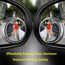 2pcs Car Rearview Mirror Small Round Mirror Blind Zone Assisted Mirror Car Mirror 360 Degree Adjustable Glass Rearview Mirror