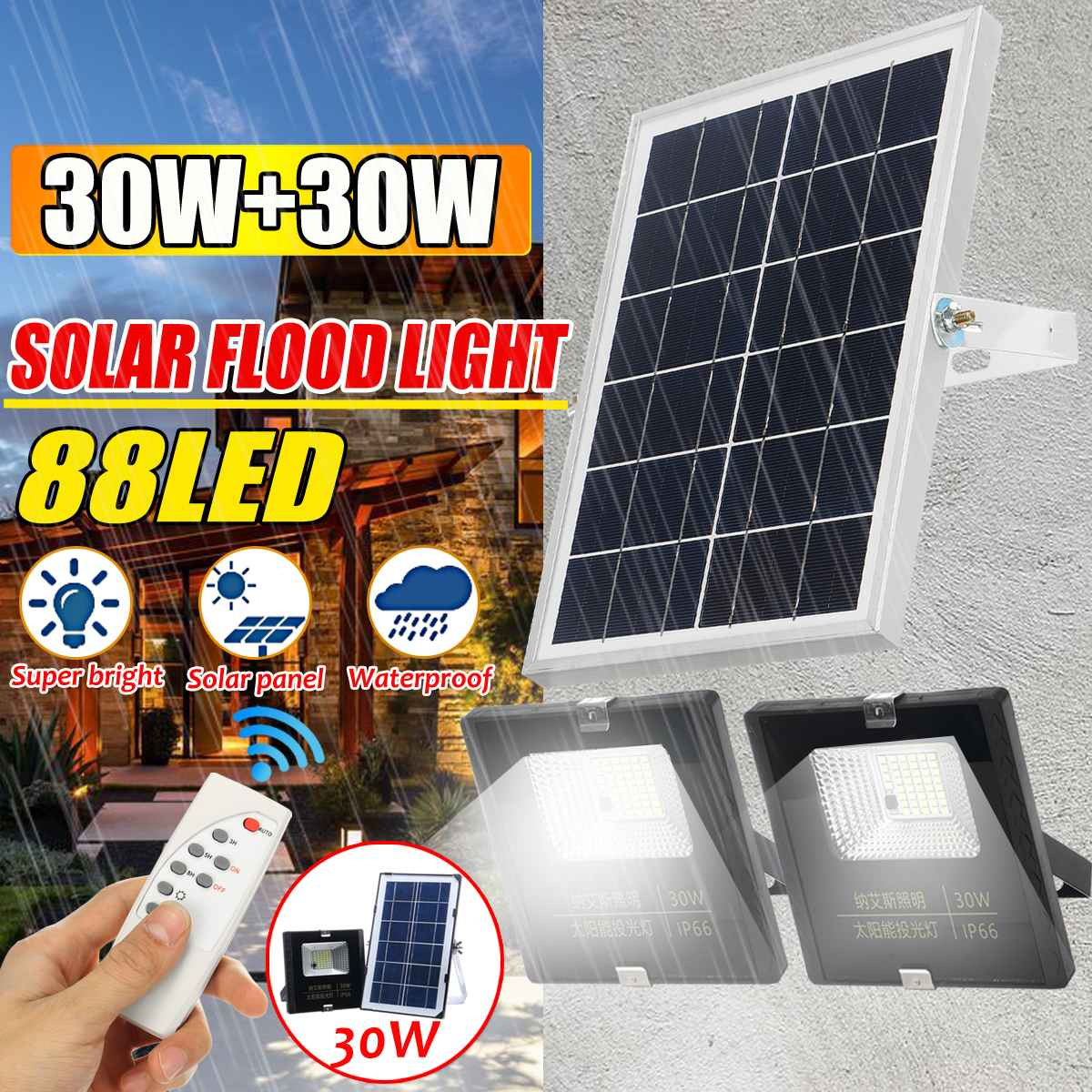 Solar Floodlight Led Portable Spotlight floodlight Outdoor Street Garden Light Waterproof Wall Lamp with Remote Control 30 + 30w