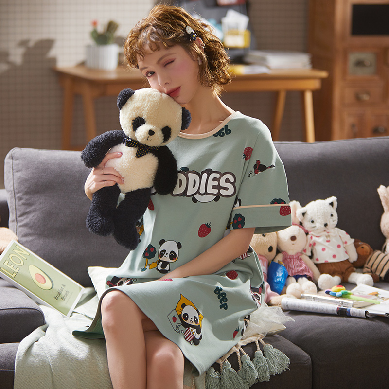 Plus Size Women Nightgowns Cotton Sleepshirts Summer Short Sleeve Sleepwear Animal Cartoon Nightwear Home Dress Nighty Robe
