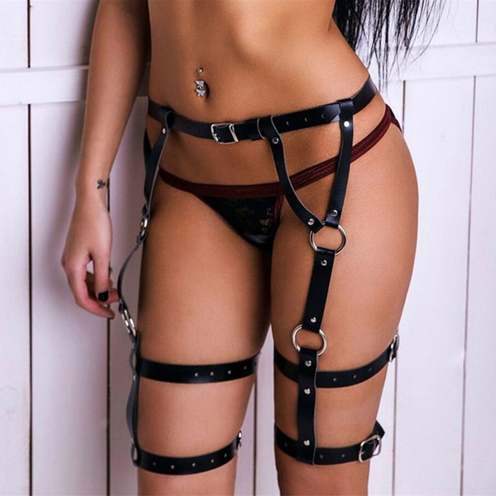 WKY Leather Harness Belts For Woman Sexy Garter Belts Women Waist To Leg BDSM Bondage Cage Straps Body Belts Lingerie Suspenders