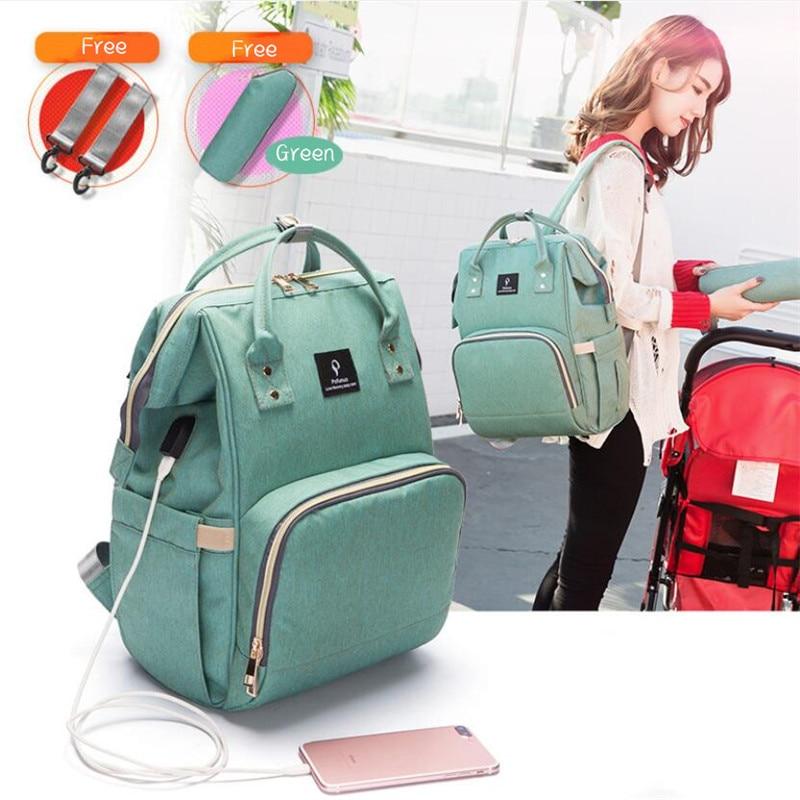 Pofunuo USB Diaper Backpack Large Capacity Travel Bag Nursing Handbag Waterproof Nappy Bag Kits Mummy Maternity Backpack