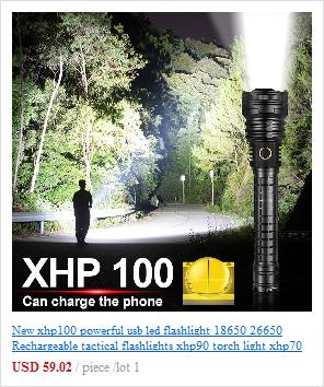 Lanterna super poderosa de led xhp100, recarregável,