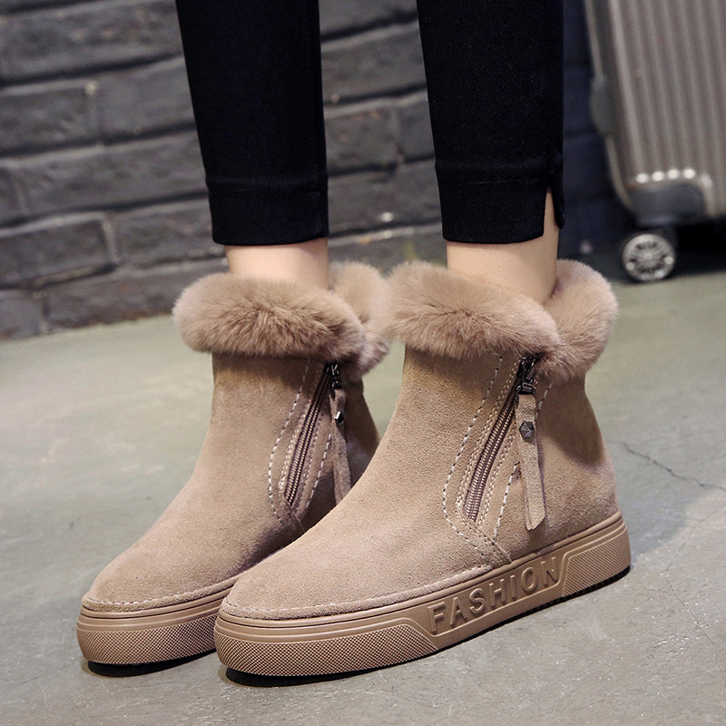 Image 3 - SWYIVY Flat Zipper Nubuck Woman Winter Boots 2019 Fashion Snow Ankle Boots For Women Shoes Short Plush Sewing Booties Solid ShoeAnkle Boots   -