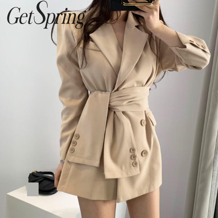 GETSPRING Women Blazer Bandage Long Women Blazers Jackets Apricot Black All Match Vintage Blazer Coats 2019 New Fashion Autumn