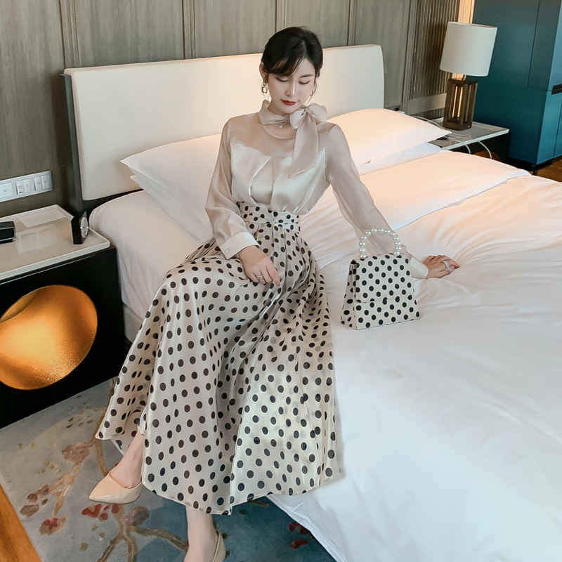 2 Piece Set 2020 Spring Women Suit Full Sleeve Bow Collar Organza Patchwork Shirt Top And Dot A Line Skirt Two Piece Set Vestido