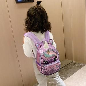 Image 5 - קריקטורה חמודה תרמיל בנות ילדים של בית ספר שקיות פאייטים Unicorn תרמיל גדול Kawaii ילקוטי ילדים חזרה חבילה המוצ ילה Mujer