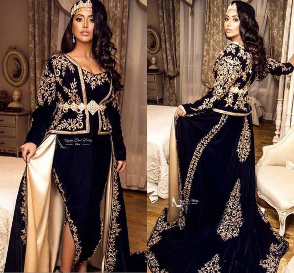 Navy Blue Kaftan Caftan Evening Formal Dresses With Overskirt 2020 Long Sleeve Karakou Algerien Gold Lace Applique Prom Gowns