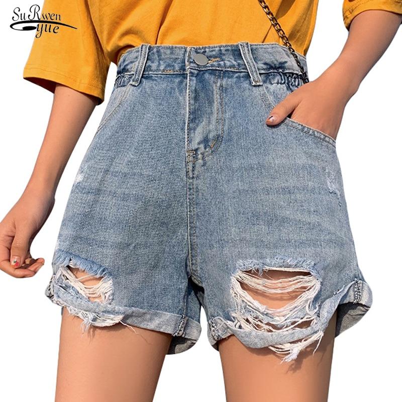 Women's Denim Shorts Plus Size 5XL Summer High Waist Blue Wide Leg Casual Ladies Shorts Jeans For Women Short Femme 9000 50