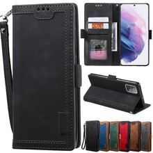 Retro Stitched Leather Wallet Case For Samsung Galaxy S20 S20Plus S20Ultra S20FE S10/S9Plus Note10 Lite Note20 Ultra A12 A32 A52