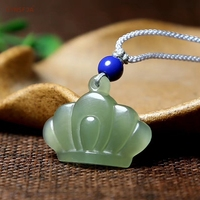 CYNSFJA Real Certified Natural Hetian Jade nephrite Charms Amulets Lucky Crown Jade Pendant Hand Carved High Quality Best Gifts
