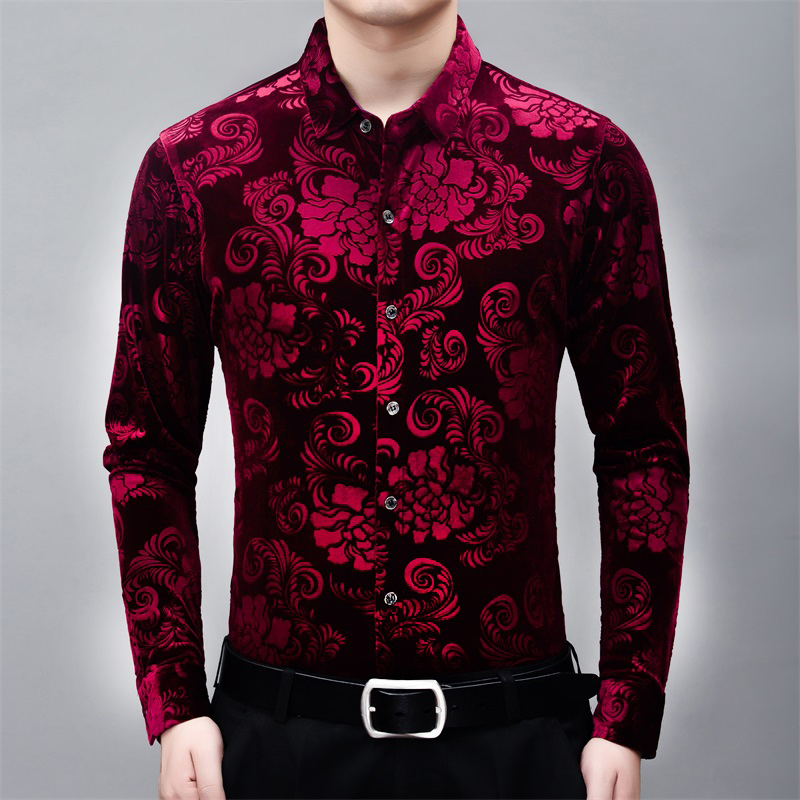 High-end floral pattern carving fashion loose long sleeve shirt New arrival quality gold velvet soft comfortable men shirt M-3XL