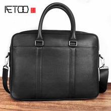 Кожаный портфель aetoo мужская деловая сумка через плечо кожаная