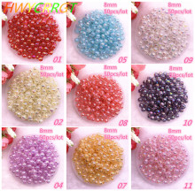 New 50 Pcs/lot 8mm Transparent Broken Flower AB Color Round Beads Loose Spacer for Jewelry Making DIY Bracelet