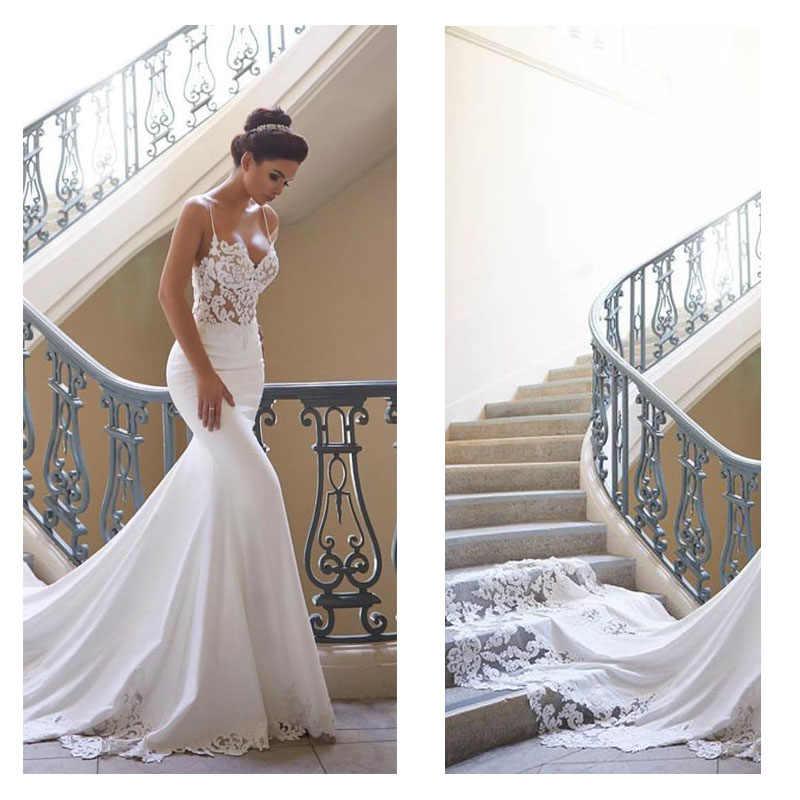 2020 yeni tasarım Mermaid düğün elbisesi kolsuz Vestidos de novia Vintage dantel sevgiliye boyun gelin kıyafeti Backless gitmek