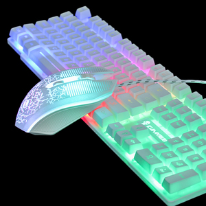 T6 Rainbow Backlit Luminous Keyboard Mouse Set Desktop Computer Game Mechanical Hand Feel For PC PS4 PS3 Xbox One