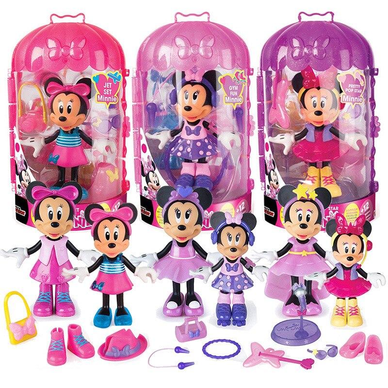 Original Disney Mickey Mouse Clubhouse Minnie 25CM Big LOL Dolls Princess Dress Up Toys Model Kids Birthday Gifts