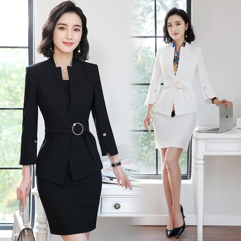 HOT Female Elegant Business Women's Dress Blazer Suits Ladies Blazer Woman Work Wear 2 Piece Set Suit Office Dresses Black White