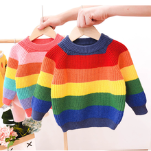 New Winter Children's Rainbow Sweater Striped Girls and Boys Kint Sweaters Autumn Baby Warm Wool Kids Clothes радужная одежда tbz 1 5yrs kids sweaters new 2016 winter spring girls clothes fashion boys clothes little rabbit embroidered knitting wool suit